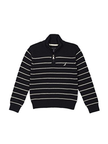 Boys Quarter Zip Sweater (Nautica Little Boys' Zip Neck Striped Sweater, Sport Navy, 5/6)
