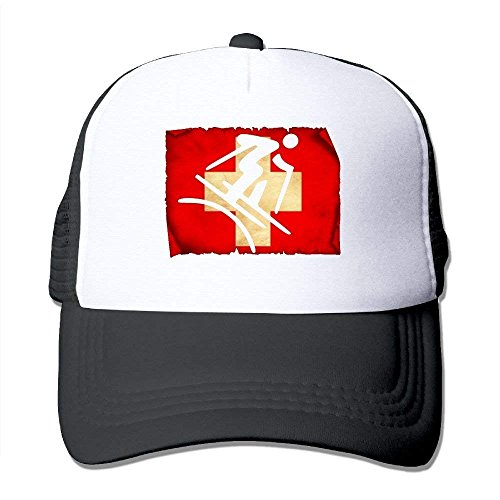 Freestyle Skiing Swiss Flag Unisex Handsome Mesh Hats Adjustables