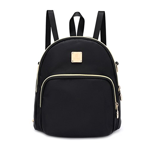 Fashion Nylon Backpack Women Rucksack Black Bag School Shoulder Small Girls JAGENIE Black Satchel 1wAdq1