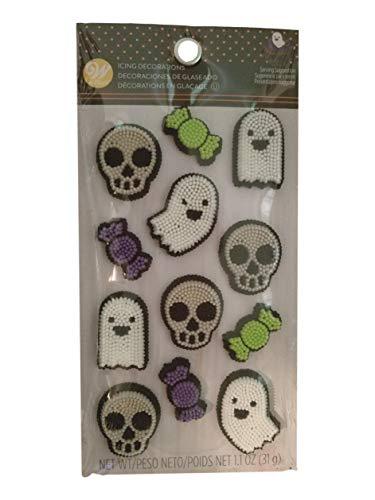 (Ghost Skull Dot Matrix Icing Decorations 12 Ct Wilton)