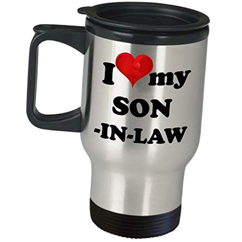 T-shirt Family Family Dark - I Love My Son In Law Travel Mug Coffee Tumbler Funny Cute Gifts From Inlaw Mother In Law Father In Law Sweet Mom Dad Christmas Birthday Wedding Family Reunion Appreciation Thank You Gift Idea