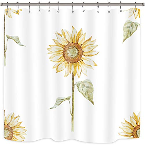 (Riyidecor Yellow Sunflower Shower Curtain Green Leaves Floral Rustic Nature Spring Durable White Polyester Fabric Waterproof Bathroom Home Drape Decorative 72x72 Inches 12 Plastic Hooks)