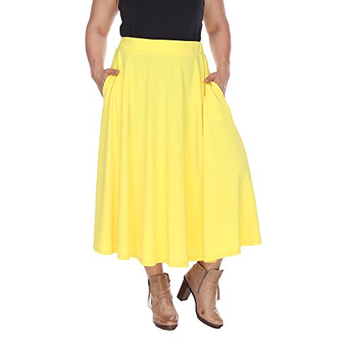 White Mark Women's Plus Size Tasmin Flare Midi Skirt 3XL Yellow -