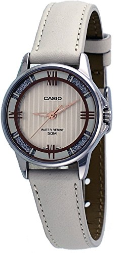 Casio LTP1391L-7A2V Women's Enticer Eggshell Leather Band Crystal Accented Silver Dial Analog - Eggshell Dial