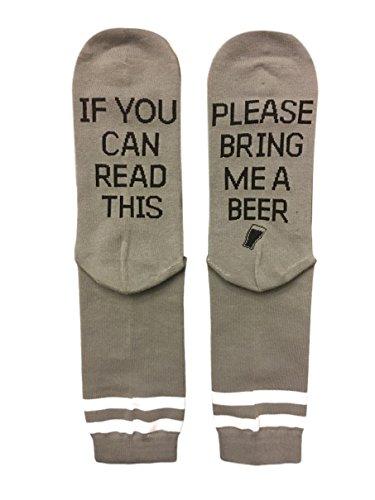 Saucey Socks - Please Bring Me Beer Socks (9-11, BEER - Grey with Black Lettering - PRIME)