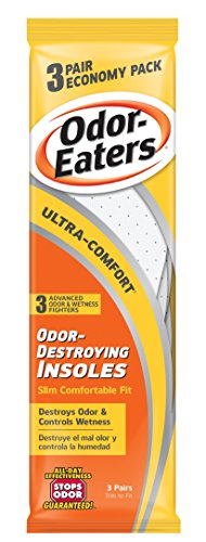 Odor-Eaters Ultra Comfort Odor-Destroying Insoles, One Size Fits All, Economy Pack, 3 Pairs per Pack, (Case of 3 Packs) (Eaters Insoles Odor)