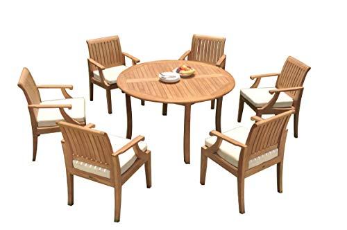 TeakStation 6 Seater Grade-A Teak Wood 7 Pc Dining Set: 52