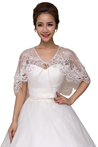 Lafee Bridal Shawls Wrap Lace Applique Scarf Capes for Wedding Dresses Ivory 2 ()