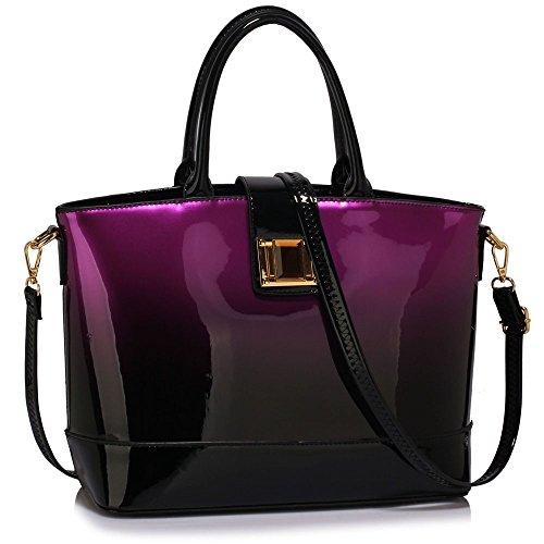 de sac à dames deux grandes cuir en femmes mode Ton CWS00476 Violet sac à créateurs de sacs à à hobo sacs CWS00350 bandoulière main sacs sacs oversize LeahWard main Sac Brevet bandoulière de xOXCqwO7