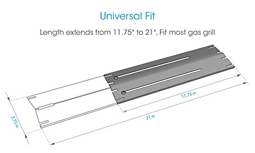 """UNICOOK Universal Replacement Heavy Duty Adjustable Porcelain Steel Heat Plate Shield,Heat Tent,Flavorizer Bar,Burner Cover,Flame Tamer for Gas Grill, Extends from 11.75"""" up to 21"""" L, 3 Pack"""