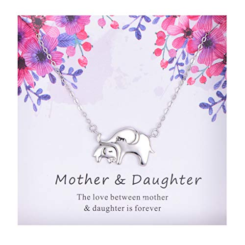 Cladtina Mother Daughter Necklace -Sterling Silver Elephant Pendant Necklace Jewelry Gift for Daughter (Elephant Necklace)