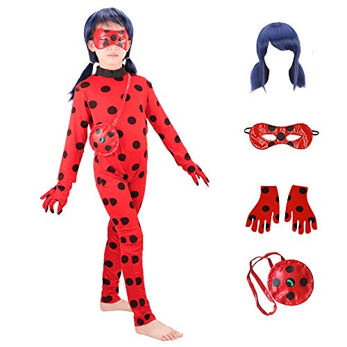 Ladybug Costumes Girls' Cosplay Jumpsuit with Wig,Yoyo,Mask and Gloves 5pcs (New, L)