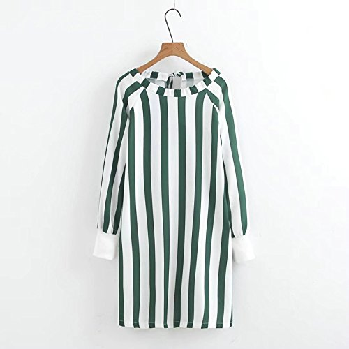 JUNHONGZHANG Frauen Kleid mit Schleife Herbst Langarm Grün Streifen Kleider B07DWV2LKK Bekleidung Hohe Qualität