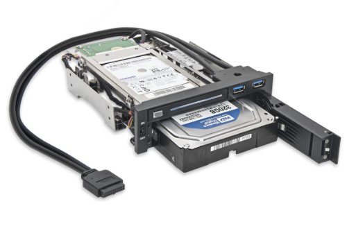 Syba SY-MRA55006 5.25'' Bay Tray Less Mobile Rack for 3.5'' and 2.5'' Sata III HDD with Extra 2 Port USB 3.0, Black/White by Syba (Image #2)
