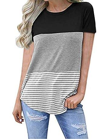 51d431de729205 kigod Women s Casual Short Sleeve Round Neck Top Triple Color Block Stripe  T-Shirt Tunics