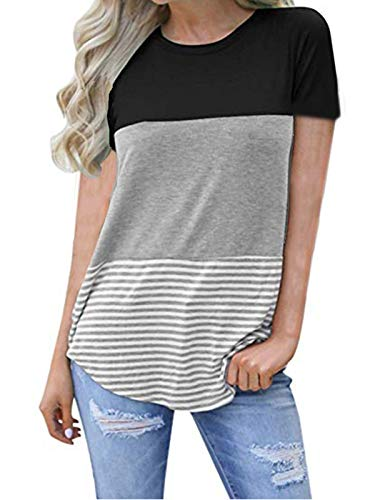 kigod Women's Casual Short Sleeve Round Neck Top Triple Color Block Stripe T-Shirt Tunics Blouse (Black, Small) ()