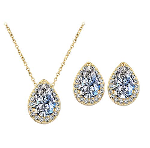 (UDORA CZ Tearsdrop Earrings Necklace Jewelry Set for Bride Bridesmaids (18K Gold))