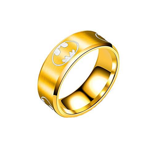 Batman Ring Gold-Tone for Women Men Stainless Steel 8mm Wide Jewelry Size - Of Ring Batman