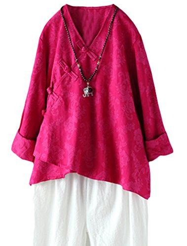 Longues Chinois Shirt V Lin Tunique Rose T Top MatchLife en Femme Col Classe Manches Model qwaPZFA