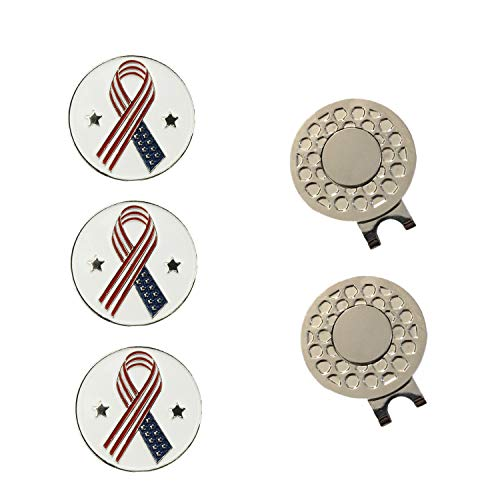 FINGER TEN Golf Ball Markers 3 Pcs with 2 Pack Hat Clip Value Gift Set, Mark Pattern USA, Eagle, Ribbon in Choice for Men Women Kid (All USA Ribbon)