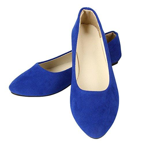 Liebe Zeit Frauen Flache Schuhe Bequeme Slip auf Spitzschuh Ballerinas Marineblau 41