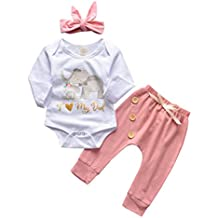 VEKDONE Baby Boy Girl Clothes I Love My Dad Cartoon Elephant Print Romper Bodysuit+Pants+Headband 3PCS Outfits Set