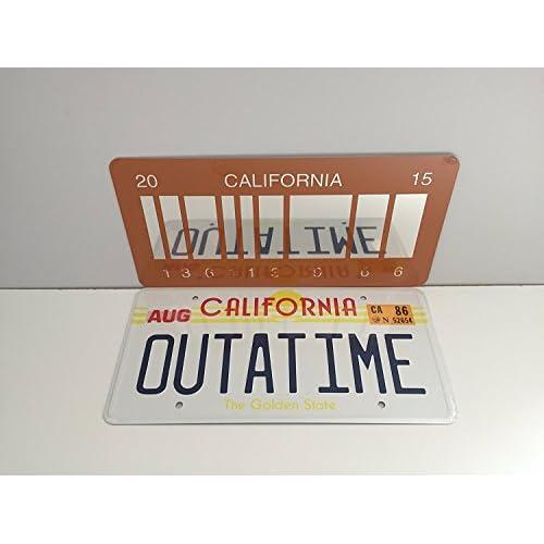 OUTATIME Retour à l'avenir 1 plaque d'immatriculation et Retour vers l'avenir 2 Plaque d'immatriculation à code-barres miroir 2015 comme on l'a vu sur Marty McFly et Doc Browns DMC-12 Delorean