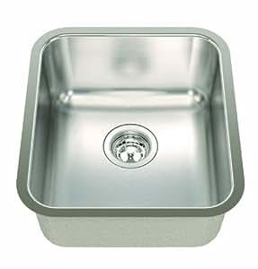 ECOSINKS ECOS-168UA Acero Combo Undermount 0-Hole Single Bowl Kitchen Sink, Satin Finish
