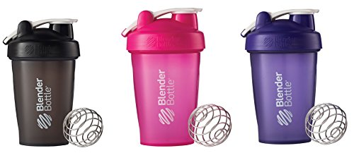 Blender Bottle ihYLB 20oz Classic Loop 3 Bottles Full Color Black, Pink, Purple
