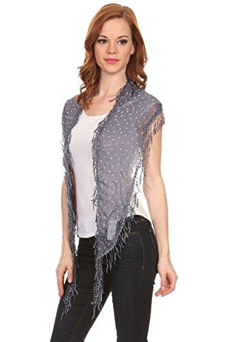 "LL Lace Crochet Scarf Flower Womens Triangle Dangling Fringe Victorian Glamour, Navy Blue Slim Triangle, 74""L x 14""W (2.5 inch tassel)"