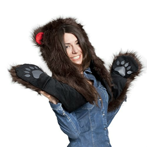 Faux FUR ANIMAL HATS HOODS Brown Bear SNOW WINTER WHITE Ski WITH MITTENS UNISEX GLOVES SCARF WITH (Bear Hood With Paw Scarf)
