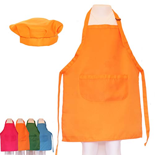 Dapper&Doll Kids Apron & Chef Hat for Cooking and Dress Up Clothes - Kitchen Baking Toy Gifts for Girls, Boys, Toddlers (Hardware Store Orange)]()