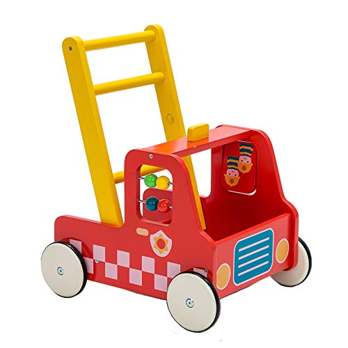 Babys Red Wagon - Children 2-in-1 Little Red Fire Engine Wooden Baby Push Walker Toddler Push & Pull Toys Activity Walker Stroller Walker Toy Wagon with Wheels for Baby Girls Boys 12 M+