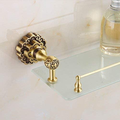 収納ラック棚 浴室用棚アンティーク真鍮1段ガラス棚化粧品収納シャワーホルダー壁掛け高級アクセサリートイレラック10713F 家のホテルの装飾のため