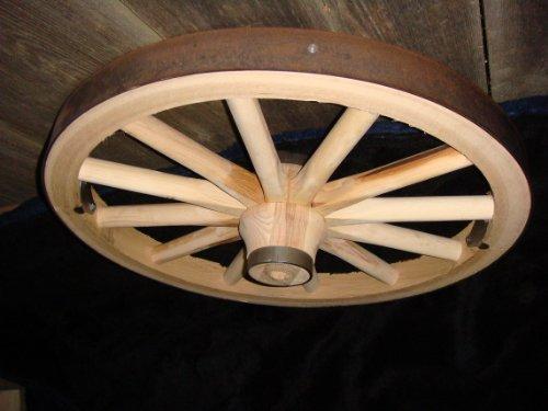 Steam Wagon (Decorative - Wood Wagon Wheel - 24 Inch x 1 Inch Steam Bent Hickory Wagon Wheel with wooden hub)