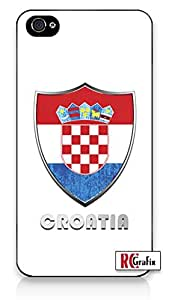 Premium Croatia Flag Badge Direct UV Printed iphone 5 5s Quality Hard Snap On Case for iphone 5 5s G T Sprint Verizon - White Case Cover
