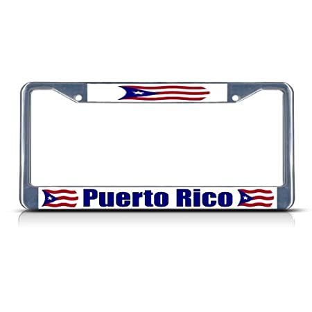 Puerto Rico Rican Flag Chrome Heavy Duty Metal License Plate Frame by Fastasticdeals