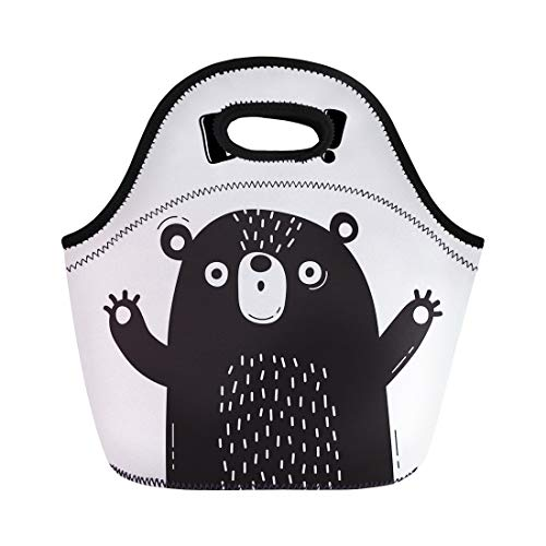 Semtomn Lunch Tote Bag Bear Who Shouts Boo of Funny Avatars Welcome Reusable Neoprene Insulated Thermal Outdoor Picnic Lunchbox for Men Women -