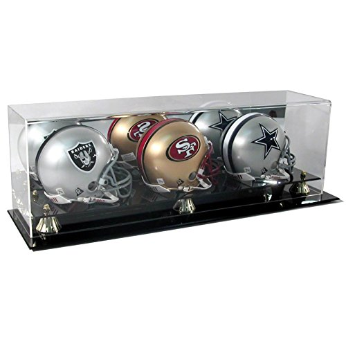New Triple Football Mini Helmet Display Case with Mirror Back and Black Base ()