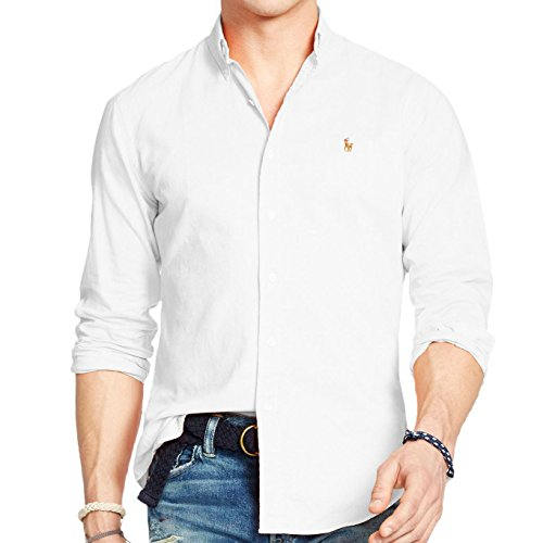 Ralph Lauren Men Solid Sport Oxford Shirt (X-Large, White)