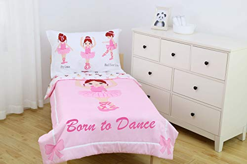 Everyday Kids 4 Piece Toddler Bedding Set -Born to Dance Ballerina- Includes Comforter, Flat Sheet, Fitted Sheet and Reversible Pillowcase by Everyday
