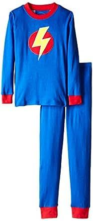 Sara's Prints Little Boys' Long John Pajamas, Blue Lightning Bolt, 3