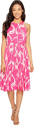Dress Pleated Vince (Vince Camuto Specialty Size Womens Petite Cut Out Floral Pleated Belted Halter Dress Electric Pink PM One Size)