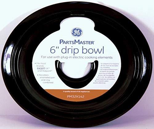 Cooktop Range Parts 6 Inches Universal Drip Bowl   Enameled Black Porcelain