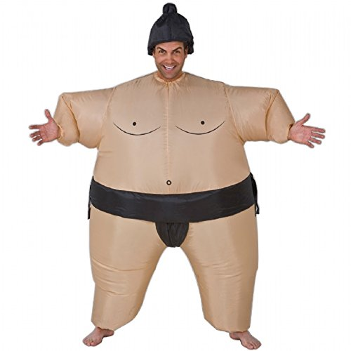 4 Man Group Costumes (Inflatable Sumo Wrestler Costume - One Size - Chest Size 40-48)