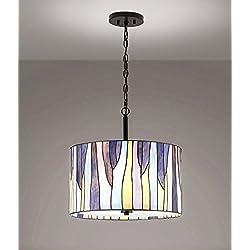 "Barossa 18""ø, 3-Lights Tiffany Pendant Light - Purple"