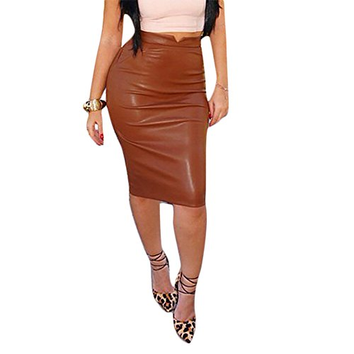 Stylish Leather Look High Waist Mini Skirt Brown Small Leather Look Pencil Skirt