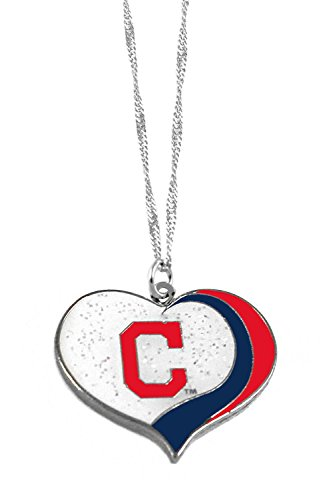 Cleveland Indians Logo Charm - aminco Cleveland Indians MLB Sports Team Logo Charm Gift Glitter Heart Necklace