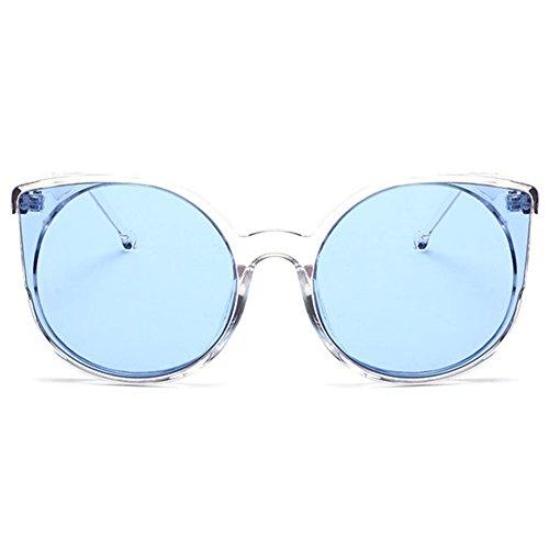 hibote Homme Femme Oeil de chat Lunettes de soleil Transparent/Transprent Bleu