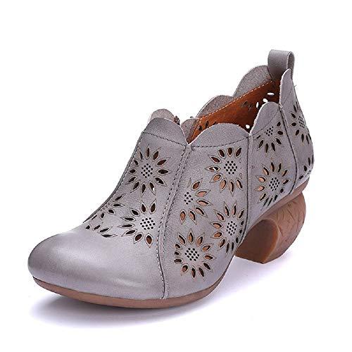 Transpirables Gris Fuxitoggo Jane color Ahueca Eu Tamaño Zapatos Flor 39 Mary Gris Los De Cuero Mujer Hacia Fuera T0qwfT